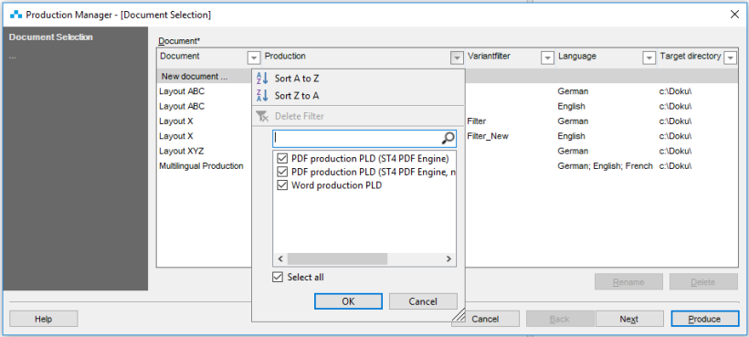 filtering inside production manager