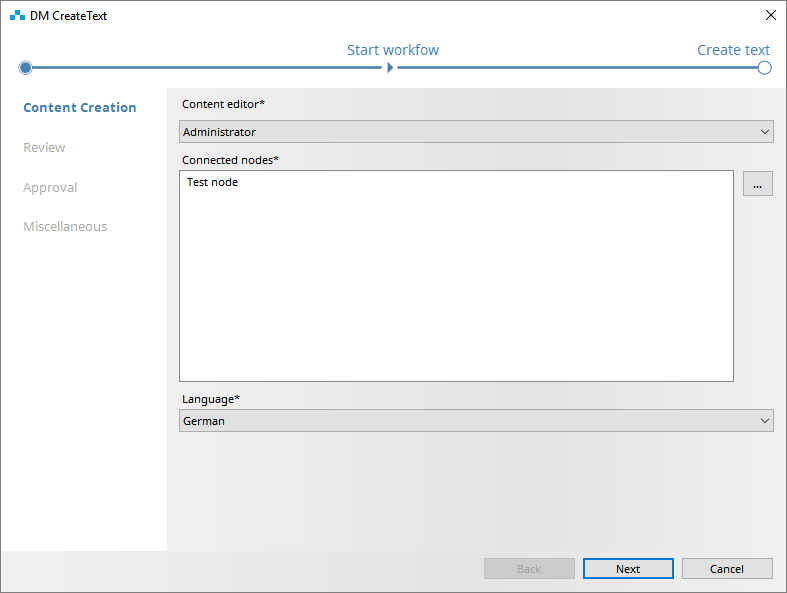 Automatically generated Workflow Wizard in SCHEMA ST4
